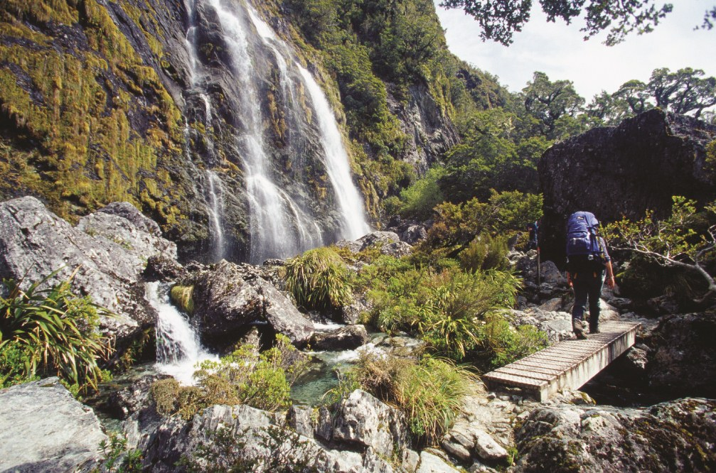 Routeburn track waterfall New Zealand