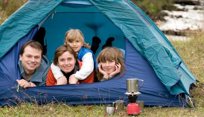 Yellowstone camping family with kids