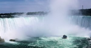 Niagara Falls Horseshoe Falls with boat viewing