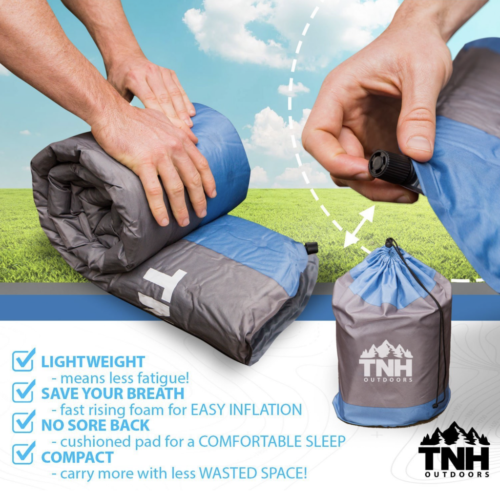 TNH Outdoors Self Inflating Sleeping Pad Lightweight Foam Padding and Superior Insulation Compact